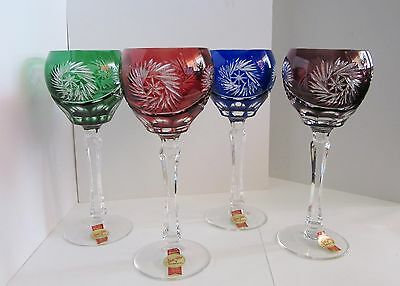 Anna Huttie Blerkristall Cut To Clear Wine Goblet Glasses Set Of 4