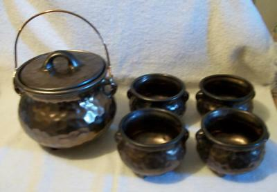 Vintage Mccoy Copper Look Complete Bean Pot And Bowls Set-With Orig. Box -Look!