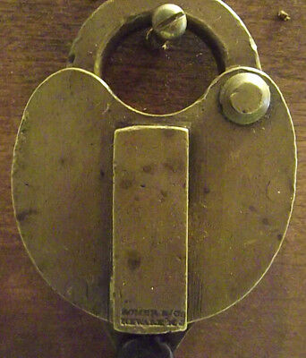Vintage Romer Large Brass Padlock W/good Working Key With 10 In Original Chain+I