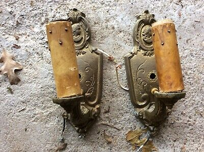 Pair of Antique Victorian era Cast Brass Bronze Wall Sconce Salem Ma