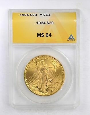 MS64 1924 $20.00 St-Gaudens Gold Double Eagle - ANACS Graded *5111