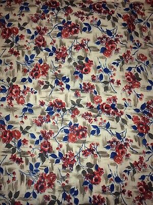 1940s 1950s ? Vintage/Antique Fabric 44W 3yd100% Cotton Red Pink blue floral