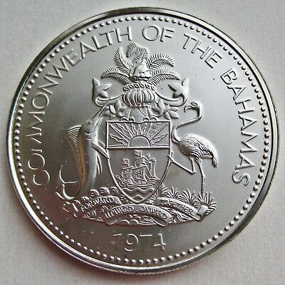 Large Bahamas 1974 Queen Elizabeth Ii Five Dollar Specimen Coin (Km#67)