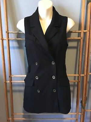 Anthropologie BAILEY 44 Black Jersey Double Breasted Long Tuxedo Vest, Size S