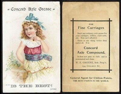AXLE GREASE 1890s trade card Burlington VT Carriage Sulky CHILTON PAINT Greene