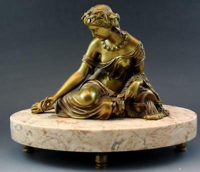 C1890s French Empire Figural Bronze of Romanesque Water Nymph Marble Base No Res