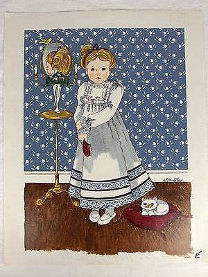 Rose Original Oil on Canvas Painting Portrait of Girl and Cat Unstretched
