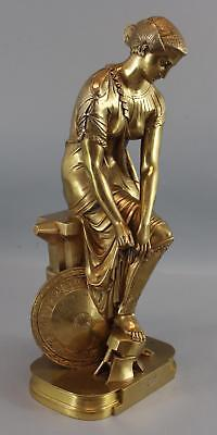 Antique Emile Hebert French Classical Gilt Bronze Sculpture THETIS Greek Goddess
