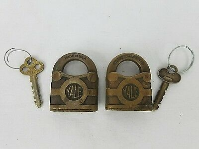 Yale & Towne MFG F18 & F21 Antique Prison Cabinet Brass Padlocks w/ Keys