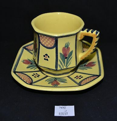 ThriftCHI ~ Hand Painted Quimper France Ceramic Tea Cup