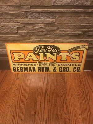 "Vintage Metal Advertising Sign ""Pee Gee Paints, Stains, Hardware, Grocery"""