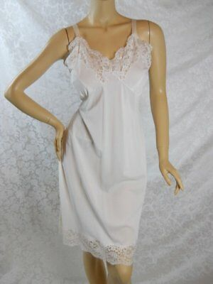 vintage PLUS size 44  soft NYLON WHITE FULL dress SLIP with LACE #289