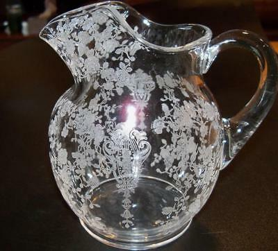 Cambridge Rose Point Etch Elegant Glass 5 1/2 Inch 20 ounce Pitcher w Ice Lip