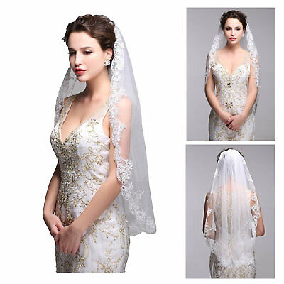 White Bride Veil Elegant Lace Edge Wedding Bridal With Comb Head Hair Accessory