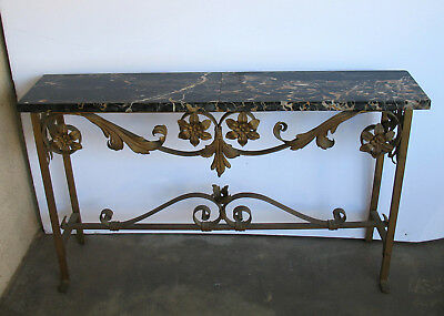 Antique French Art Deco Style Iron Portoro Marble Console End Side Table Sofa