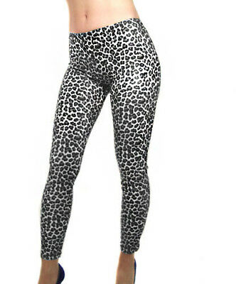 Madame Fantasy Leopard Print Opaque Spandex Leggings Black White Xs S M L Xl Xxl