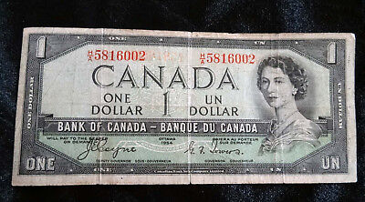 Devils Face 1954 Canada $1 One Dollar banknote H/A 5816002