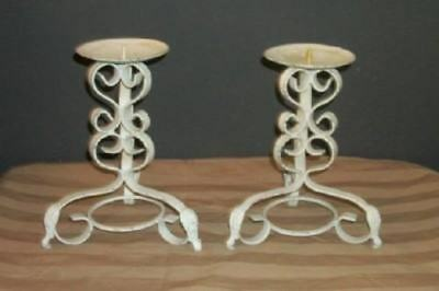 French Scrolly Iron Chippy White Candle Holders Chic Shabby Cottage Paris Apt