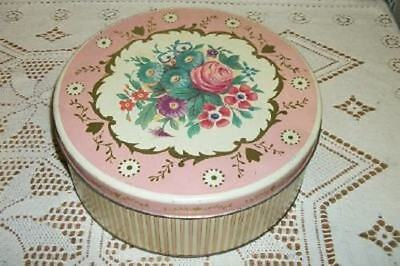 Cottage Chic Vintage Candy Stripe Pink Roses Tin Canister Shabby Sewing Box
