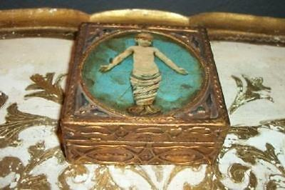 Hollywood Regency Italian Florentine Aqua Gilt Box Cherub Vintage Chic Shabby