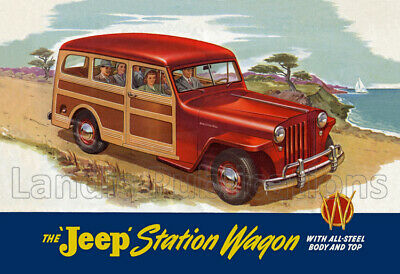 1940's Willys-Overland, Jeep Station Wagon - Vintage Poster