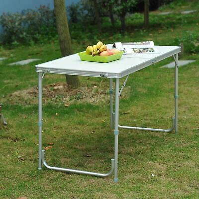 4FT Folding Aluminum Table Desk Portable Outdoor Garden Camping Dining Party BBQ
