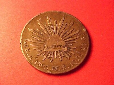 MEXICO 8 REALES SILVER CROWN 1895-As M.L. RIM/EDGE DAMAGE CAP & RAYS TYPE
