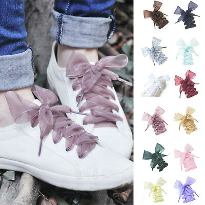 New Shoelaces Flat Silk Satin Ribbon Sport Shoes Laces Sneakers Shoestrings Hot