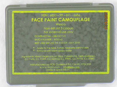 Face Paint Camouflage,BCB ,3-Colours,tarnschminke with Mirror,Olive/ Black/