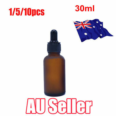 30ml Amber Glass Liquid Reagent Pipette Bottle Eye Dropper Drop Aromatherapy ON