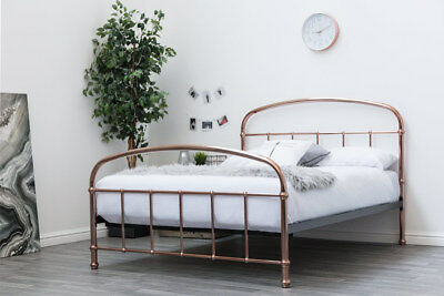 Luxury Rose Gold Copper Metal Bed Frame Double King Size Victorian Antique Style