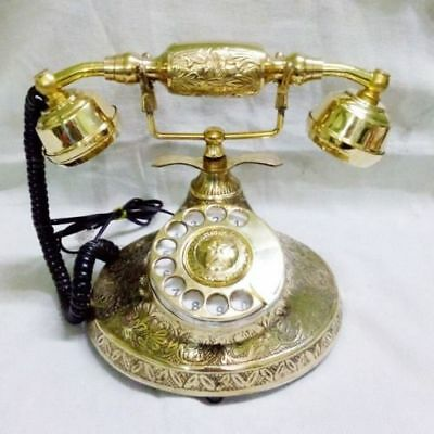 Solid Brass Vintage French Victorian Halloween Style Rotary Dial Phone Telephone