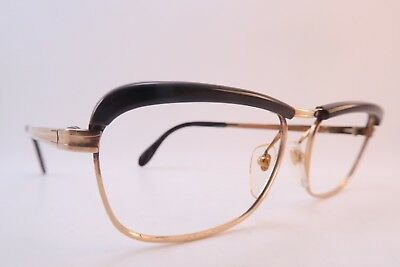 Vintage 70s eyeglasses frames gold filled brown acetate brow BURIS splendid
