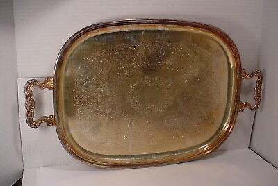 Vintage  Large Silverplate  Tray with Handles
