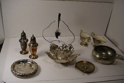 Vintage Lot Silverplate  S&P's Coasters Sugar Creamer Stainless and Pewter