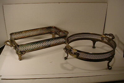 2 Vintage  Silverplate  Round and Square Glass Server Holders