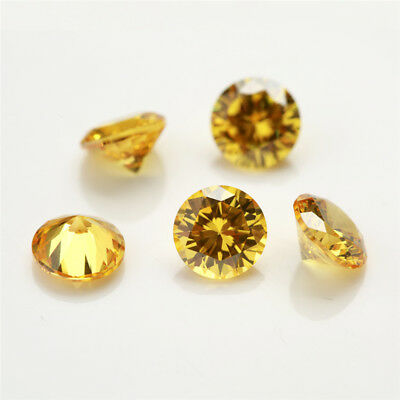 100pcs 0.8~30mm Round Golden Yellow 5A loose cz stone cubic zirconia gemstone