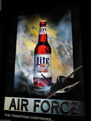 Huge Vtg Miller Lite Beer Air Force Jet Plane In Motion Bar Light Pub Sign Wow