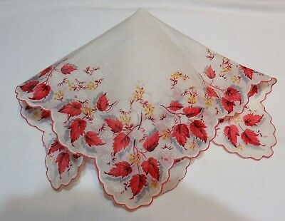 """#84 Vintage Handkerchief Printed Burnished Red Leaves Scalloped Edge 13.50"""""""