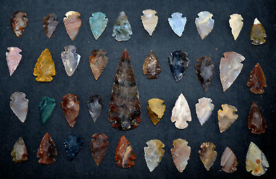 "38 PC Flint Arrowhead Ohio Collection Points 1-3"" Spear Bow Knife Hunting Blade"