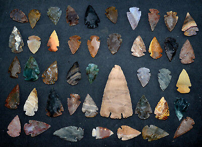 "44 PC Flint Arrowhead Ohio Collection Points 1-3"" Spear Bow Knife Hunting Blade"
