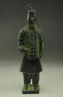 Old Chinese  Bronze Dynasty  Stand General Terra-Cotta Warriors Sculpture