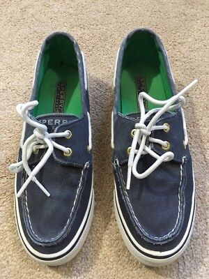 eede3bb047ce GUC Sperry Top-Sider Canvas Boat Shoes Sneakers BLUE DENIM   WHITE 6 M MSRP