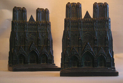 An Antique Pair Cast Metal Bookends of Cathedral Z17