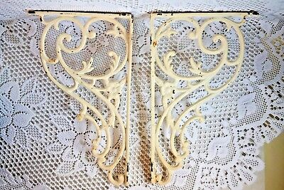 Original Cast Iron  Ornate Scroll Flower Victorian Shelf Brackets