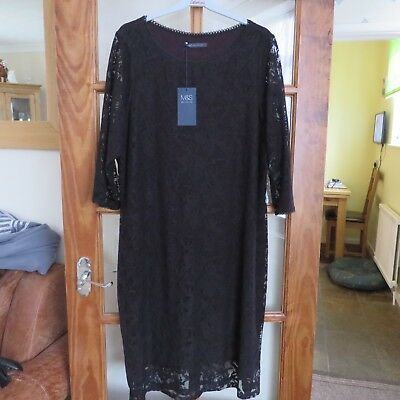 Ms Collection Black Lace Shift Dress Size 20 Rrp 45 3980