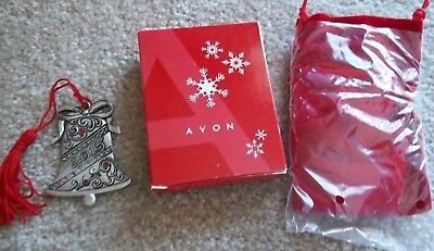 Nib Avon 2015 Pewter Bell Christmas Ornament With Pouch And Box Excellent