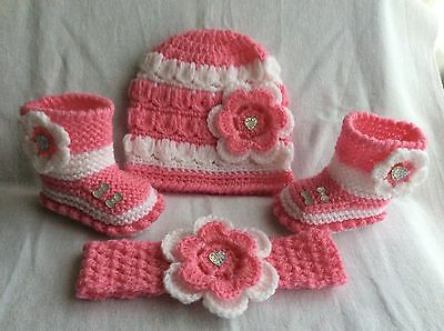 Hand knitted  baby girls booties and hand knitted hat headband 0-3 months