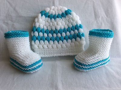 Hand knitted baby boy booties and hand knitted hat 0-3 months