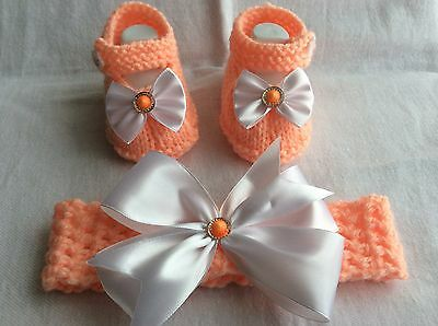 New Hand knitted/ baby  girl booties/shoes and crochet headband 0-3 months